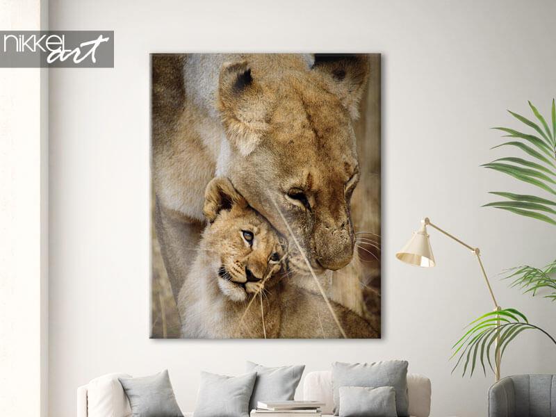 Foto auf Leinwand Löwen von Mutter und Kind