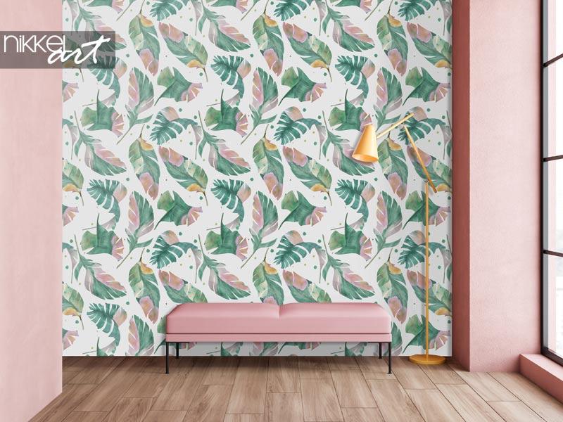 Tapeten Aquarell nahtlose Muster mit tropischen Bananenblättern