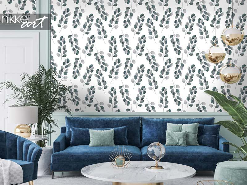 Tapeten Tropisches Aquarell nahtloses Muster mit Eukalyptuszweigen