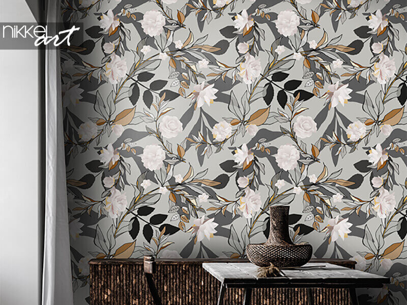 Tapete nahtloses Muster mit weißen Rosen und grauen Blättern