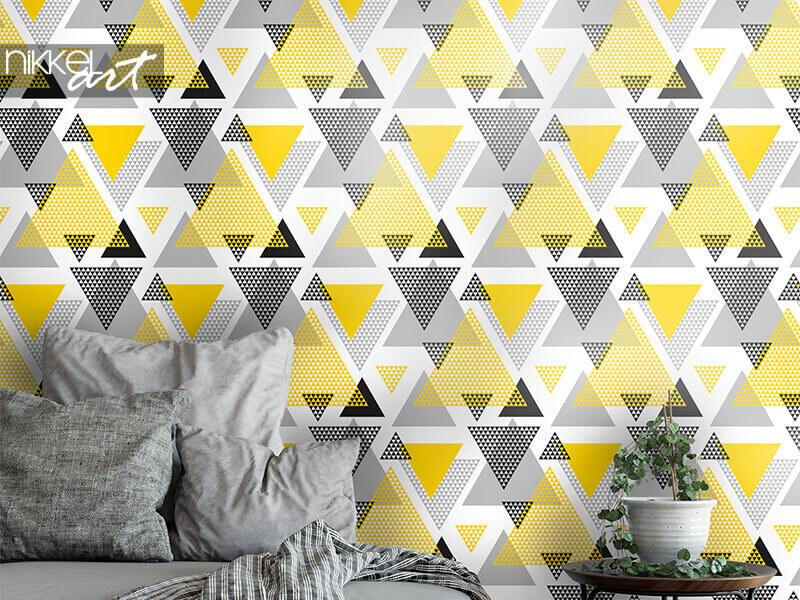 Tapete gelbe und schwarze Dreiecke