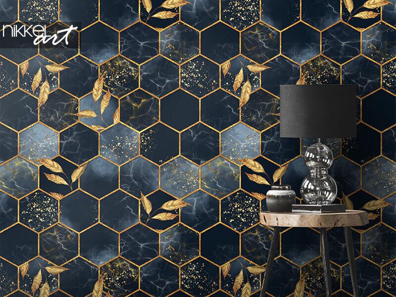 Tapete Marmor Sechseck nahtlose Textur mit Blattgold