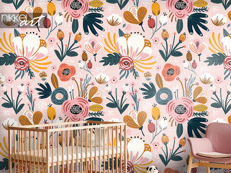 Tapete nahtloses Muster mit Blüten, Beeren und Blättern