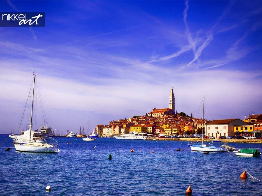 Rovinj old town in Adriatic sea coast of Croatia