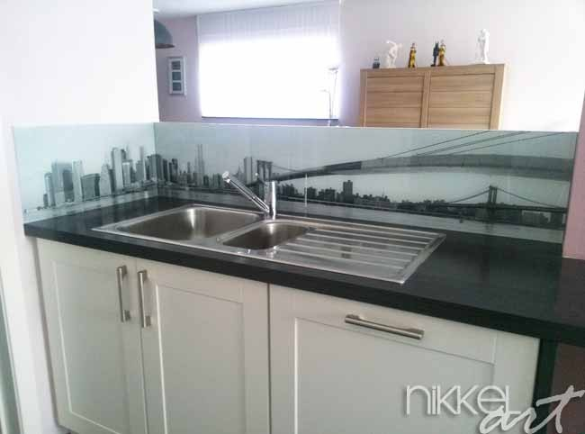 k chenr ckwand aus glas mit foto new york. Black Bedroom Furniture Sets. Home Design Ideas