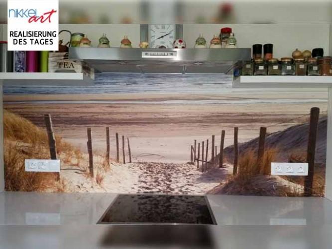 K chenr ckwand foto glas nordsee strand auf langeoog for Glasplatte mit motiv