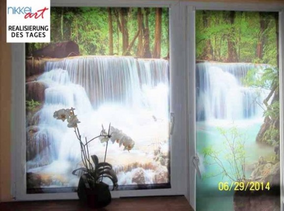 Rollo mit fotodruck Wasserfalle