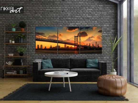 Alu-dibond Triptychon Philadelphia Skyline