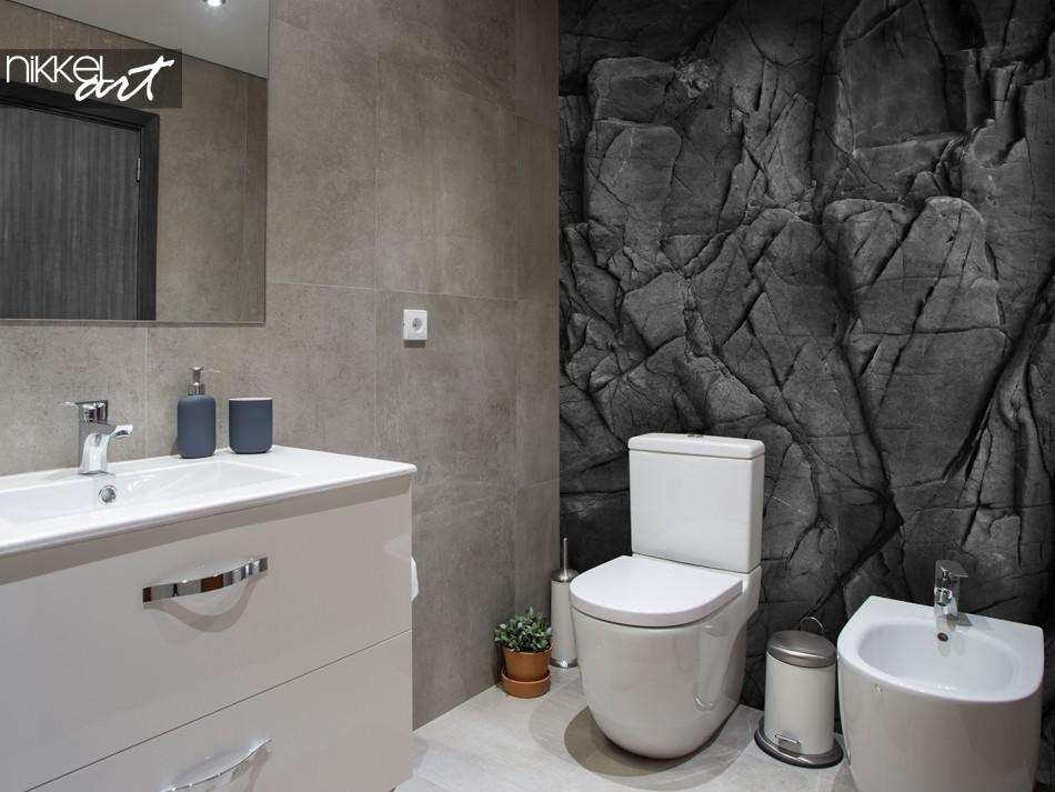 Badezimmer mit Fototapete Black Stones