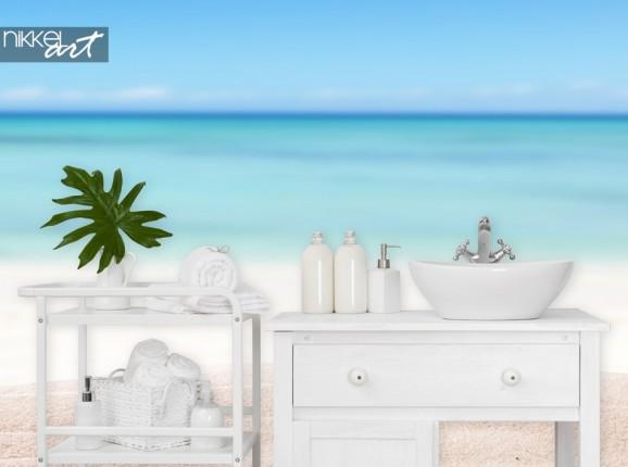Badezimmer mit Fototapete Strand