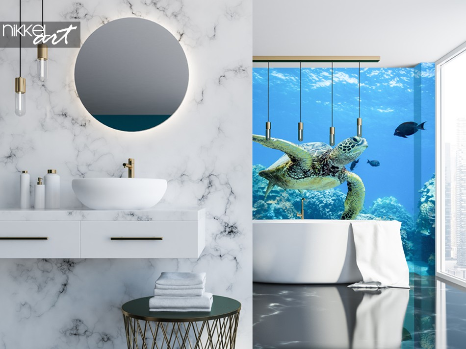 Badezimmer mit Fototapete Meeresschildkröte