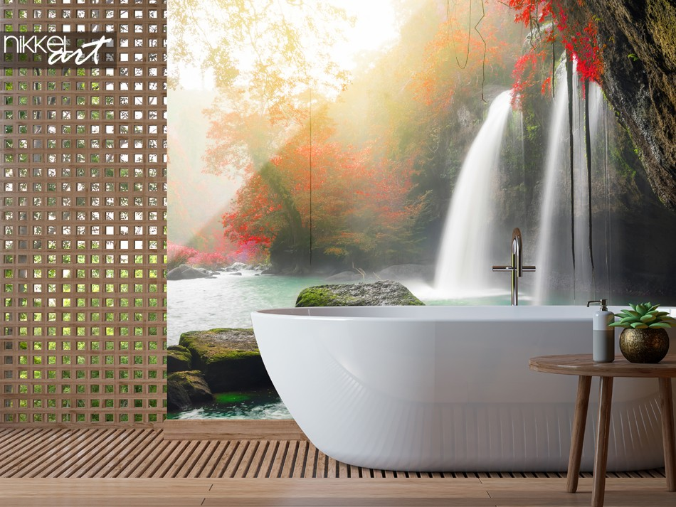 Badezimmer mit Glasrückwand Heo Suwat Waterfall