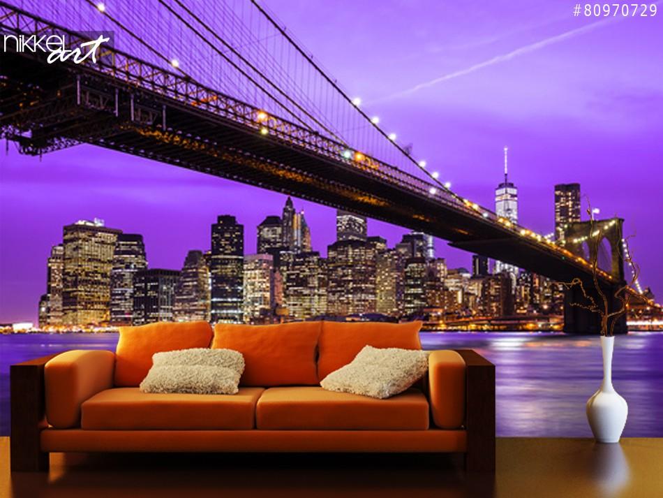 New York-Brooklyn-Brücke und skyline
