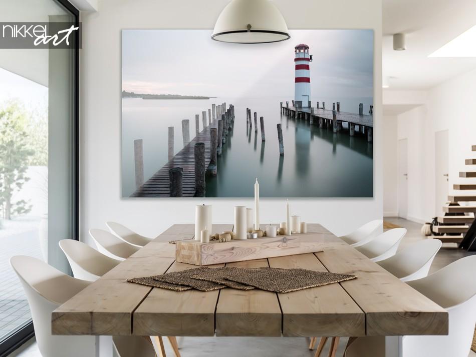 Esszimmer mit Foto-traditionellem Leuchtturm auf Acrylglas