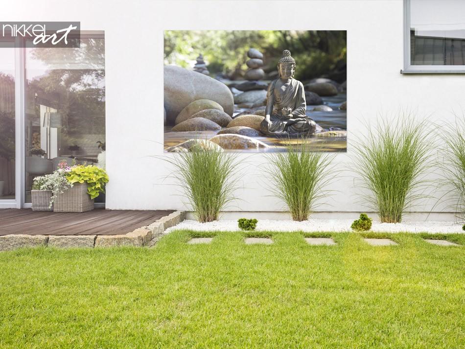 Garten mit Foto auf Alu-Dibond Buddha