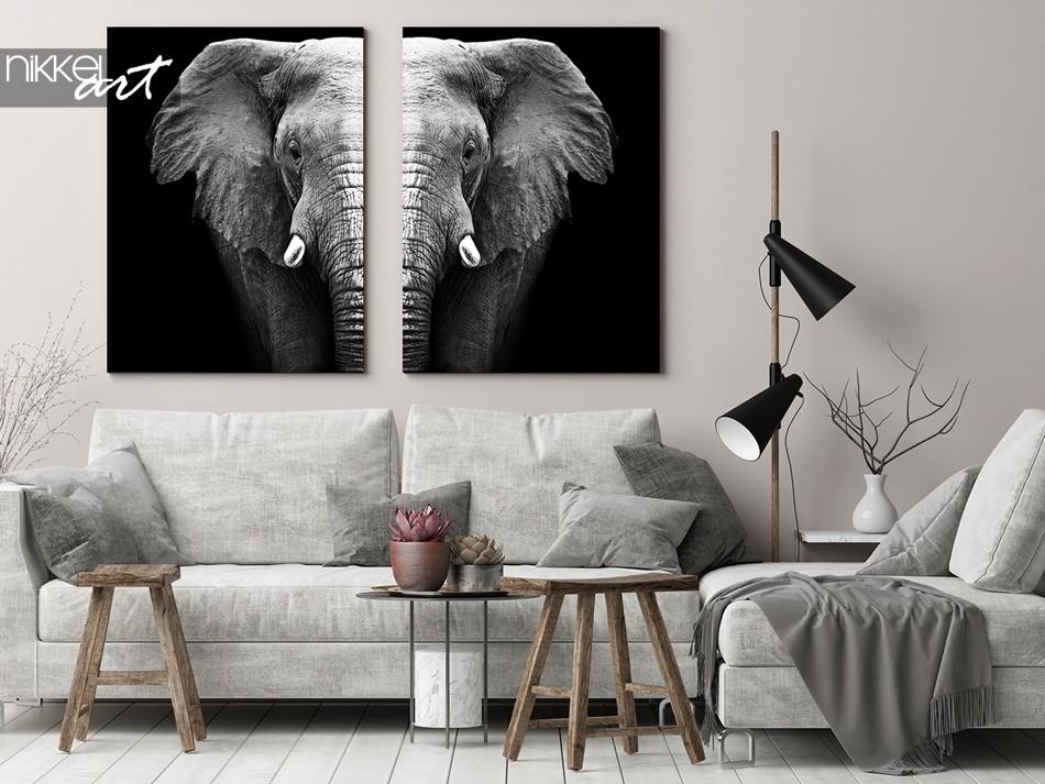 Schwarz-Weiß Elefant auf Leinwand
