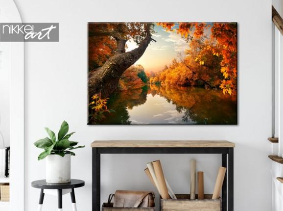 Herbstlicher Wald auf Leinwand