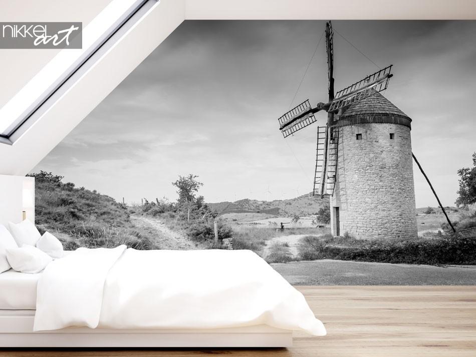 Fototapete einer Windmühle im Schwarzweiss-Effekt, Antiguo Molino de Guerinda