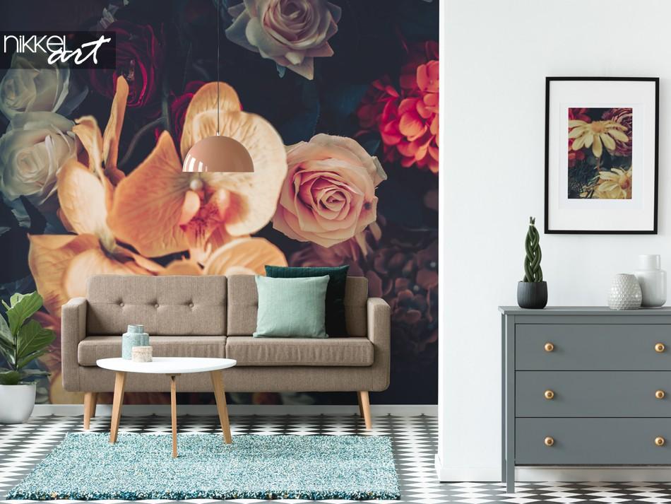 Fototapete Wohnzimmer mit Vintage Style Blumen