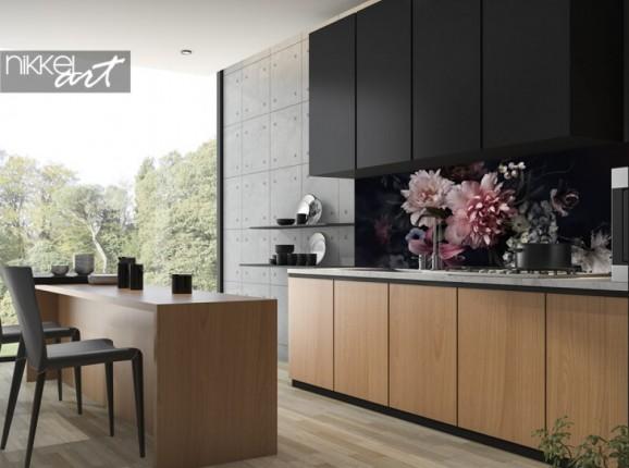 Küchenrückwand aus Glas mit Blumen