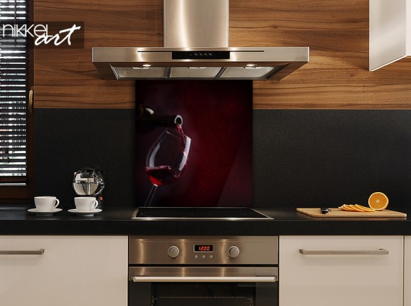 Glas-Küchenrückwand Rotwein