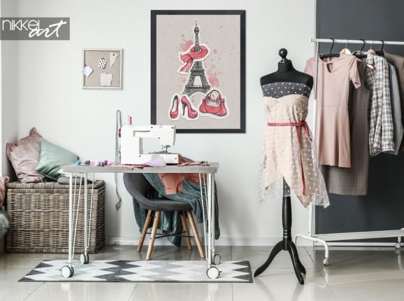 Hobbyraum mit Poster Abbildung Paris