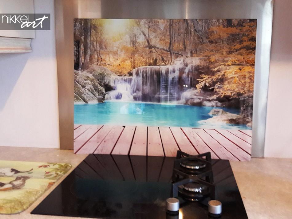 Küchenrückwand aus Glas mit Foto Wasserfalle