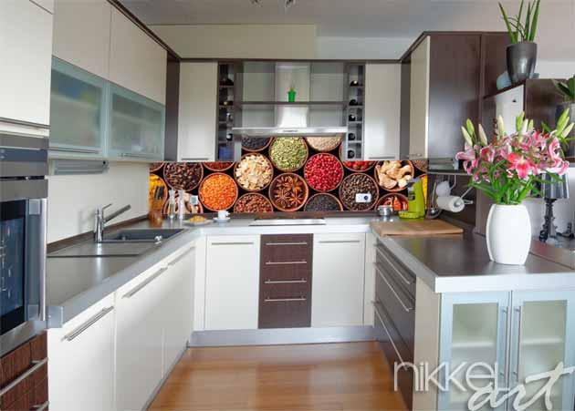 Küchenrückwand aus Glas mit Foto Gewürze