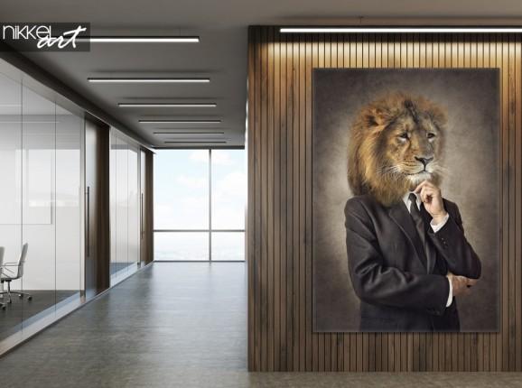 Büro mit Foto auf Leinwand Hipster Lion