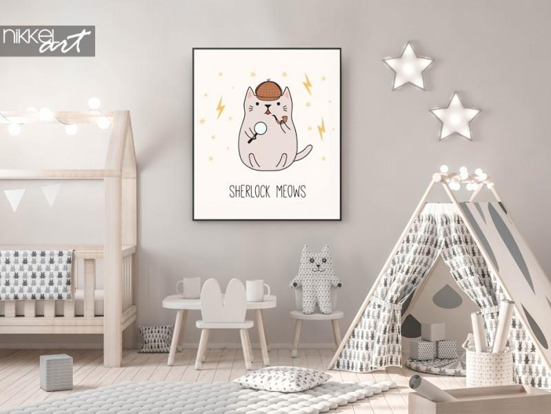 Kinderzimmer mit Poster Abbildungen Detective Kitten