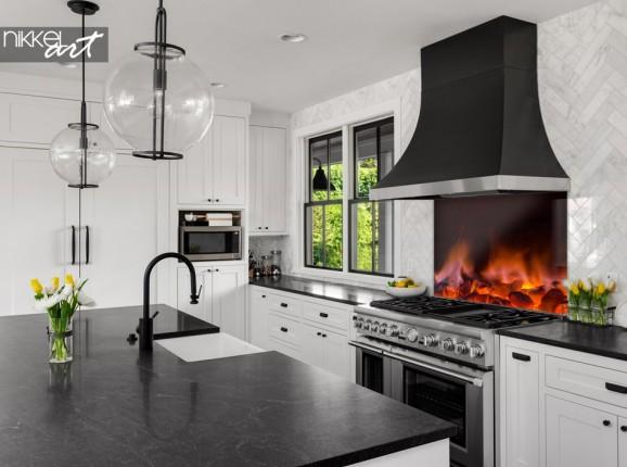 Küchenrückwand aus glas mit Glühende heiße Kohlen