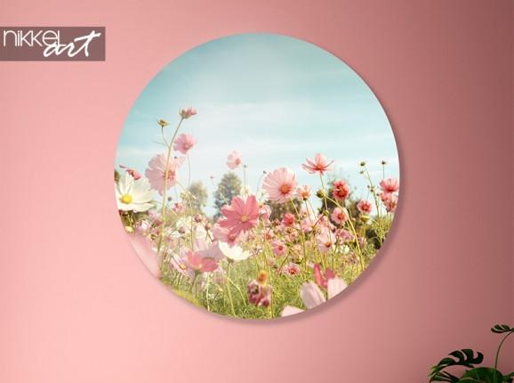 Alu-Dibond Wand Kreis mit Blumen