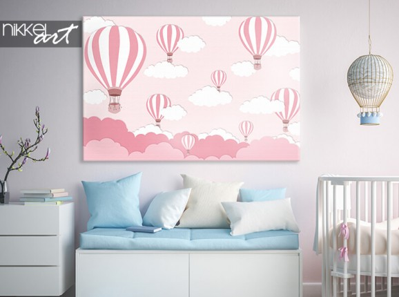 Leinwand mit rosa Luftballons