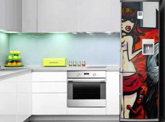 Fotostickers op koelkast en vaatwasser