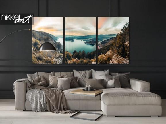 3 Teiliger Acrylbild Bergsee