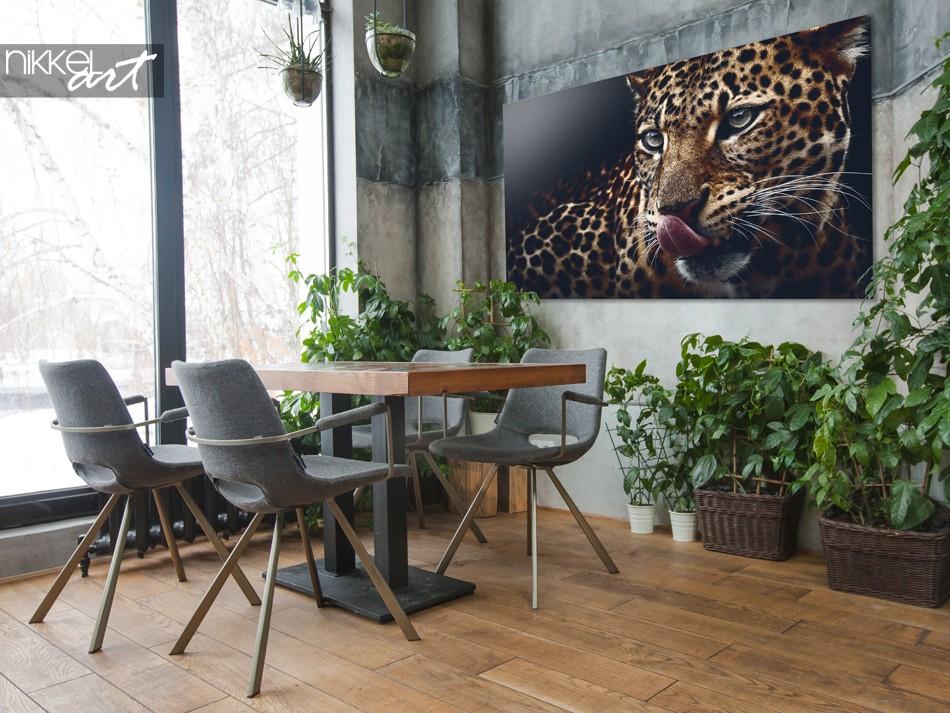 Gewächshaus mit Foto Leopard auf Acrylglas