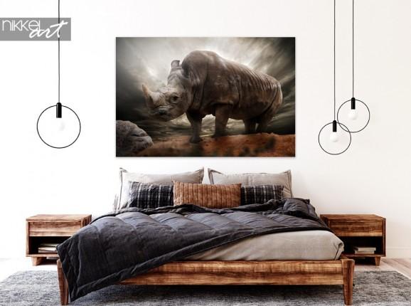 Schlafzimmer mit Foto Rhino auf Alu-Dibond