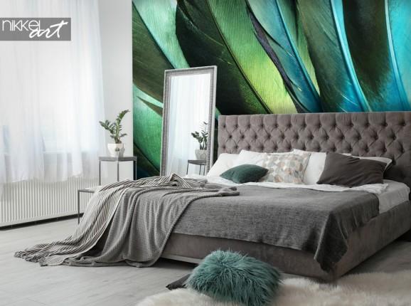 Schlafzimmer mit Fototapete Federn