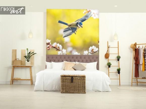 Schlafzimmer mit Wandaufkleber Vogel