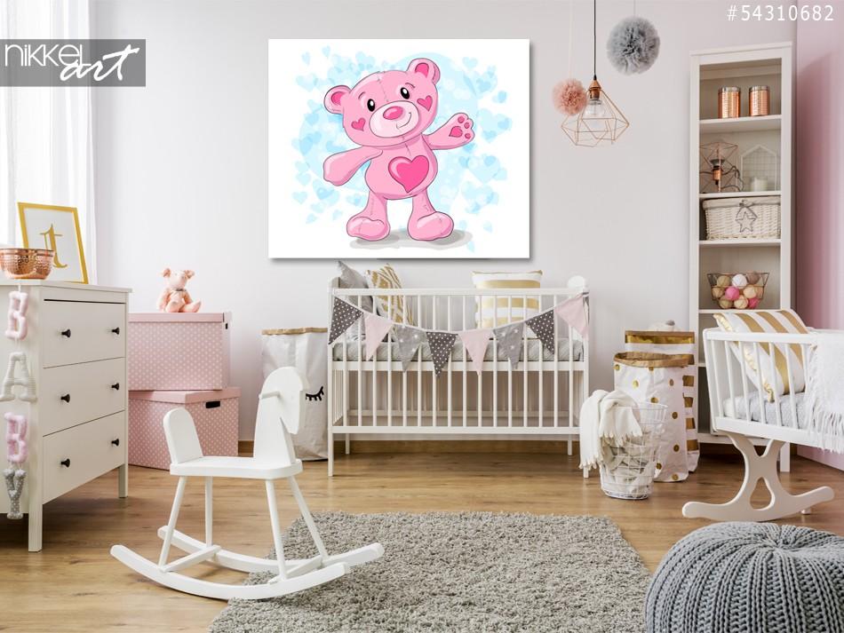 Foto auf Acrylglas Niedlichen Teddy mit Herz-cartoon
