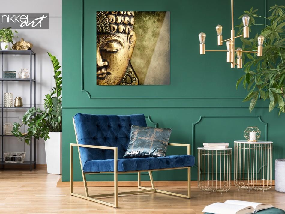 Wohnzimmer mit Foto von Buddha auf Plexiglas
