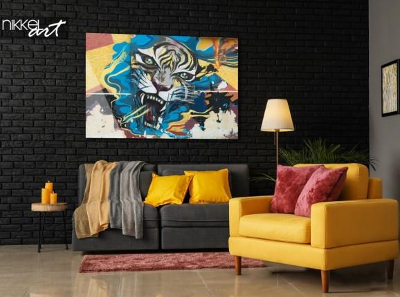 Wohnzimmer mit Photo Graffiti Tiger auf Acrylglas