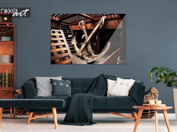 Wohnzimmer mit Foto Schiff auf Plexiglas