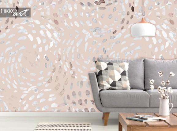 Wohnzimmer mit Fototapete Abstract Swirls