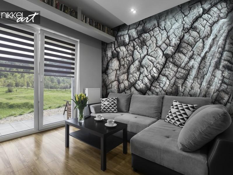 Wohnzimmer mit Fototapete Baumbeschaffenheit