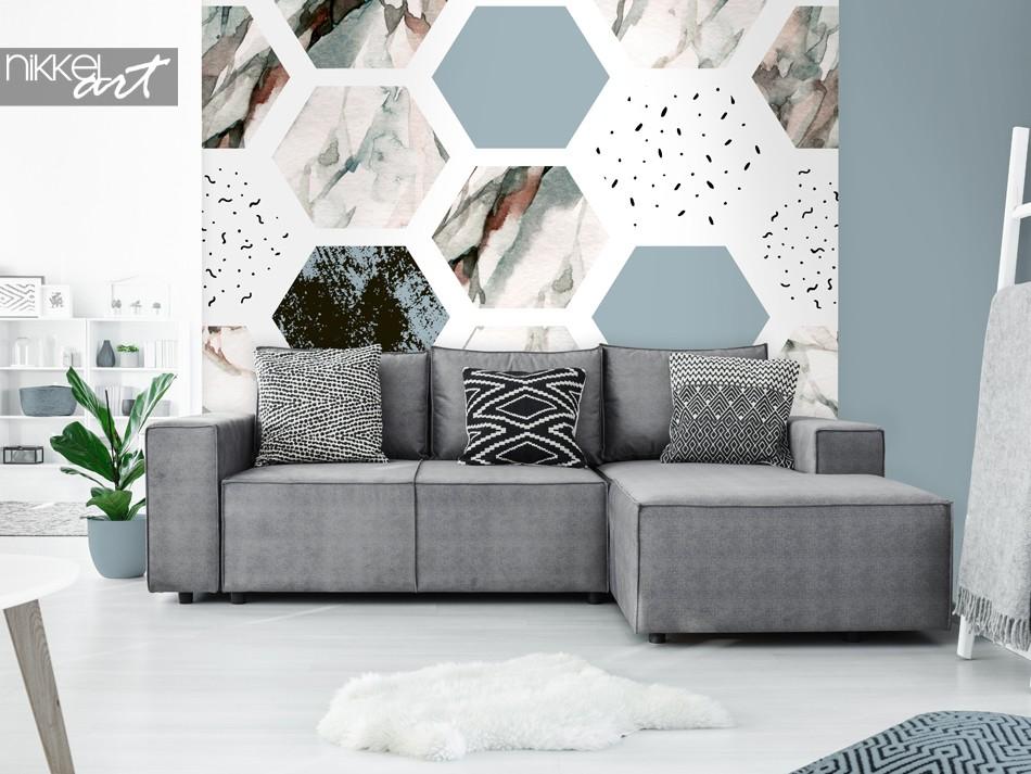 Wohnzimmer mit Fototapete Grafik Druck