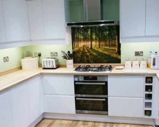 k chenr ckwand foto glas wald. Black Bedroom Furniture Sets. Home Design Ideas