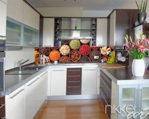 k chenr ckwand aus glas mit foto gew rze. Black Bedroom Furniture Sets. Home Design Ideas