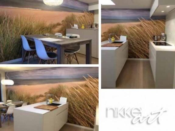 fototapeten strand in der k che. Black Bedroom Furniture Sets. Home Design Ideas