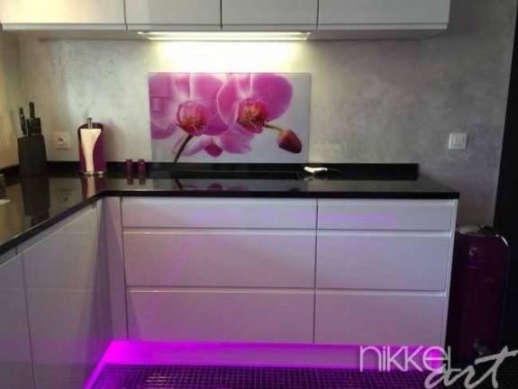 k chenr ckwand foto glas orchideen. Black Bedroom Furniture Sets. Home Design Ideas